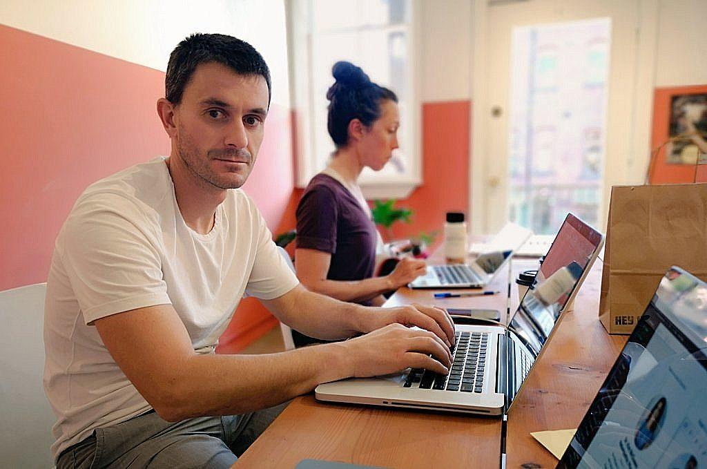 Jasper Blake and Alicia Bulmer working hard on the hub.